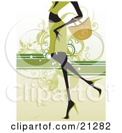 Clipart Illustration Of A Shopping Woman In Green Carrying A Purse On Her Arm And Walking In Heels Over A Green Scrolled Background by OnFocusMedia
