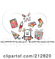Royalty Free RF Clipart Illustration Of A Stick Girl With Toys And Accessories by NL shop