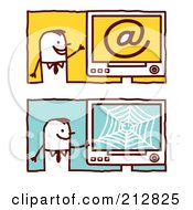Royalty Free RF Clipart Illustration Of A Digital Collage Of Stick Business Men With Email And Web Computers