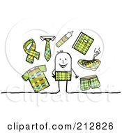 Royalty Free RF Clipart Illustration Of A Stick Man Surrounded By Plaid Clothes And Accessories
