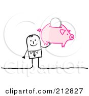 Royalty Free RF Clipart Illustration Of A Stick Businessman Holding Up A Piggy Bank
