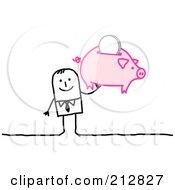 Stick Businessman Holding Up A Piggy Bank by NL shop