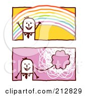 Royalty Free RF Clipart Illustration Of A Digital Collage Of Stick Business Men With A Rainbow And Thought Balloon by NL shop