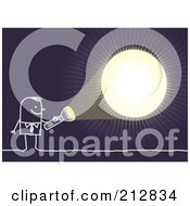 Royalty Free RF Clipart Illustration Of A Stick Businessman Shining A Light In The Darkness