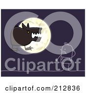 Royalty Free RF Clipart Illustration Of A Stick Man Staring At A Werewolf By The Moon