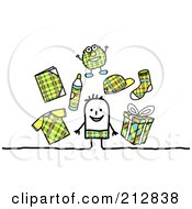 Royalty Free RF Clipart Illustration Of A Stick Boy Surrounded By Plaid Clothes And Accessories by NL shop