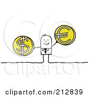 Stick Businessman Holding Euro And Dollar Coins