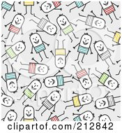 Royalty Free RF Clipart Illustration Of A Seamless Pattern Background Of Happy Stick Men In Colorful Clothes Over Gray by NL shop