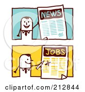 Royalty Free RF Clipart Illustration Of A Digital Collage Of Stick Business Men With News And Jobs