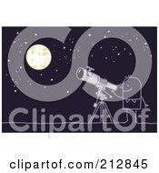 Royalty Free RF Clipart Illustration Of A Stick Man Using A Telescope To View The Night Sky