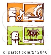 Royalty Free RF Clipart Illustration Of A Digital Collage Of Stick Business Men With Gear And Spider Computers by NL shop