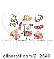 Royalty Free RF Clipart Illustration Of A Stick Woman With Summer Clothes And Accessories by NL shop