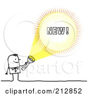 Royalty Free RF Clipart Illustration Of A Stick Businessman Shining A Light On New