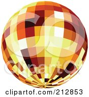 Royalty Free RF Clipart Illustration Of A Reflective Orange Disco Ball by dero