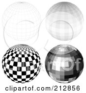 Royalty Free RF Clipart Illustration Of A Digital Collage Of A Wire Frame Sphere And Disco Balls 1