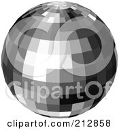 Royalty Free RF Clipart Illustration Of A Reflective Black And Gray Disco Ball