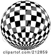 Royalty Free RF Clipart Illustration Of A Checkered Black And White Disco Ball With The Bottom In View