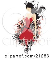 Clipart Illustration Of A Faceless Caucasian Woman With Long Black Hair Wearing A Red Fashionable Dress by OnFocusMedia