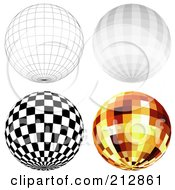 Royalty Free RF Clipart Illustration Of A Digital Collage Of A Wire Frame Sphere And Disco Balls 2