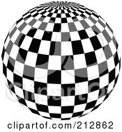Royalty Free RF Clipart Illustration Of A Checkered Black And White Disco Ball With The Top In View by dero