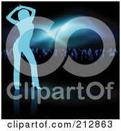 Royalty Free RF Clipart Illustration Of A Background Of A Blue Silhouetted Woman Dancing Near A Crowd Under Blue Lights