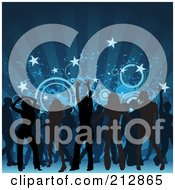 Royalty Free RF Clipart Illustration Of A Background Of Silhouetted Men And Women Having Fun On A Dance Floor Under Blue Rays