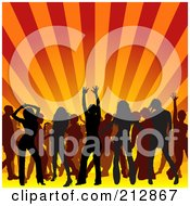 Royalty Free RF Clipart Illustration Of A Background Of Silhouetted Men And Women Having Fun On A Dance Floor Under Orange Rays