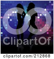 Royalty Free RF Clipart Illustration Of A Background Of Two Silhouetted Women Standing Back To Back Over Sparkles by dero