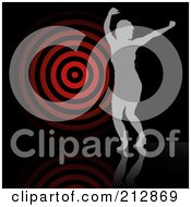 Royalty Free RF Clipart Illustration Of A Background Of A Gray Silhouetted Woman Dancing By A Target Over Black