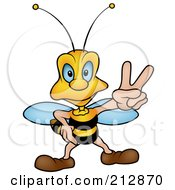 Royalty Free RF Clipart Illustration Of A Peaceful Wasp Gesturing by dero