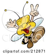 Royalty Free RF Clipart Illustration Of A Peaceful Wasp Jumping And Gesturing by dero