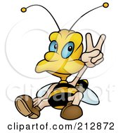 Royalty Free RF Clipart Illustration Of A Peaceful Wasp Sitting And Gesturing by dero
