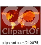 Royalty Free RF Clipart Illustration Of A World Atlas Formed Of Gradient Pixels On Red by dero