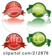 Digital Collage Of Four Glossy Labels In Red And Green