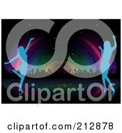 Royalty Free RF Clipart Illustration Of A Background Of Blue Silhouetted Women Dancing And Rainbow Lights