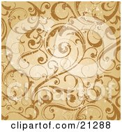 Clipart Illustration Of A Worn Scroll Background Of Curling Vines In Orange And Brown Tones