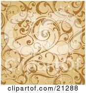 Worn Scroll Background Of Curling Vines In Orange And Brown Tones