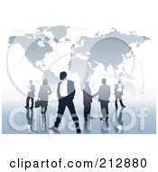 Royalty Free RF Clipart Illustration Of A Team Of International Business People By A Dotted Map by dero