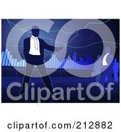 Royalty Free RF Clipart Illustration Of A Business Man Pointing To A Chart And Others Watching Over Blue by dero