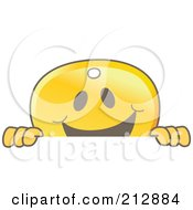 Royalty Free RF Clipart Illustration Of A Golden Key Mascot Character Smiling Over A Blank Sign