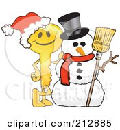 Royalty Free RF Clipart Illustration Of A Golden Key Mascot Character By A Snowman
