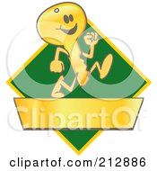 Royalty Free RF Clipart Illustration Of A Running Golden Key Mascot Character Logo Over A Green Diamond And Gold Banner by Toons4Biz
