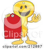 Royalty Free RF Clipart Illustration Of A Golden Key Mascot Character Holding A Blank Red Tag