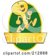 Royalty Free RF Clipart Illustration Of A Running Golden Key Mascot Character Logo Over A Green Oval And Gold Banner