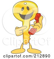 Golden Key Mascot Character Pointing To A Phone