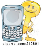 Golden Key Mascot Character With A Cell Phone