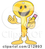 Golden Key Mascot Character Holding A Pencil