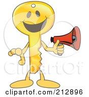 Golden Key Mascot Character Holding A Megaphone