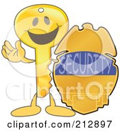 Golden Key Mascot Character With A Security Badge