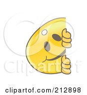 Royalty Free RF Clipart Illustration Of A Golden Key Mascot Character Smiling Around A Blank Sign